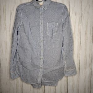 Medium blue pinstripe button up shirt